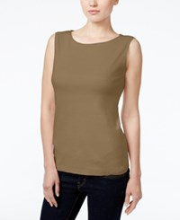 Karen Scott Petite Boat Neck Tank Top Only At Macy's Suede