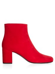 Saint Laurent Babies Block Heel Suede Ankle Boots Red