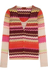 Missoni Crochet Knit Cardigan And Tank Set Red
