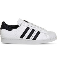 Adidas Superstar 80S Reptiled Effect Leather Trainers White Black Scale
