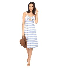 Lovers Friends Ocean Waves Dress Nautical Stripe Women's Dress Blue
