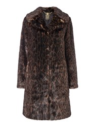Biba Leopard Faux Fur Coat Brown