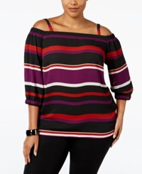 Inc International Concepts Plus Size Off The Shoulder Striped Blouse Only At Macy's