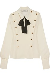 Philosophy Di Lorenzo Serafini Button Embellished Pussy Bow Chiffon Blouse White