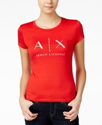 Armani Exchange Logo Graphic T Shirt Red White