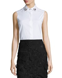 Christopher Kane Sleeveless Jewel Collar Blouse White