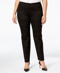 Alfani Plus Size Comfort Waist Printed Skinny Pants Only At Macy's Hounstooth Plaid Pewter