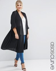 Asos Curve Longline Soft Blazer With Pleated Back Black