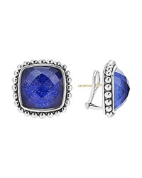 Lagos Sterling Silver Maya Lapis Doublet Square Earrings Blue