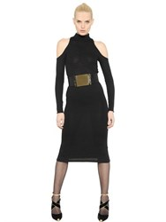Balmain Open Shoulder Wool Knit Dress