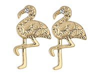 Lilly Pulitzer Light As A Feather Flamingo Earrings Gold Metallic Earring