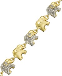 Macy's Sterling Silver Plated Or 18K Gold Over Sterling Silver Plated Diamond Accent Linked Elephant Charm Bracelet