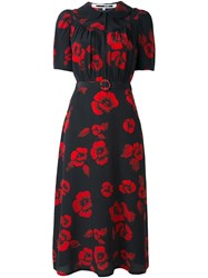 Mcq By Alexander Mcqueen Japanese Flower Print Belted Dress Black