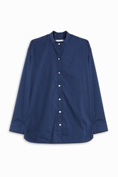 Atea Oceanie Women S X Man Repeller Mandarin Collar Shirt Boutique1 Blue