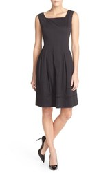Women's Ellen Tracy Square Neck Sateen Fit And Flare Dress