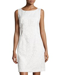 Chetta B Embroidered Sleeveless Sheath Dress Ivory