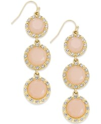Inc International Concepts Gold Tone Triple Pink Stone Fish Hook Earrings Only At Macy's