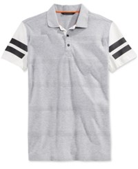 Sean John Men's Big And Tall Herringbone Stripe Polo Grey Mix Heather