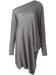 Lost And Found Off Shoulder Draped Sweater Grey