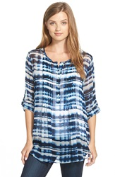 Casual Studio Pleat Front Peasant Blouse Nordstrom Exclusive Navy Abstract Stripe Print