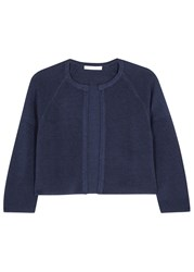 Boss Faria Blue Ribbed Cropped Cardigan