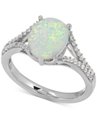 Macy's Lab Created Opal And White Sapphire Ring In Sterling Silver