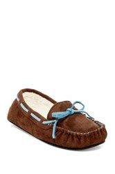 Gold Toe Faux Fur Moccasin Slipper Brown