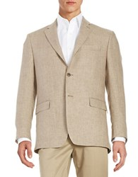 Lauren Silver Slim Fit Houndstooth Blazer Tan