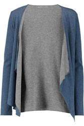 Majestic Two Tone Slub Cotton And Cashmere Blend Cardigan Blue