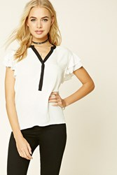 Forever 21 Ruffled Button Front Top Ivory