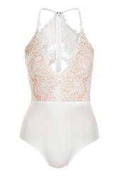 Rare Scallop Lace Plunge Bodysuit By Cream