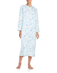Miss Elaine Floral And Bird Print Quilted Zip Robe Blue