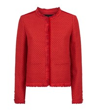 Maje Valou Woven Tweed Jacket Female Red