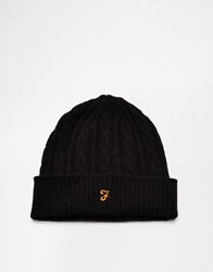 Farah Vintage Kirtly Cable Knit Beanie Hat Black