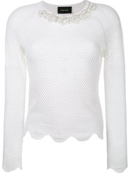 Simone Rocha Open Knit Embellished Jumper Nude And Neutrals
