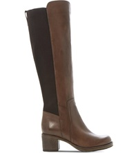 Bertie Tara Stretch Knee High Boots Brown Leather