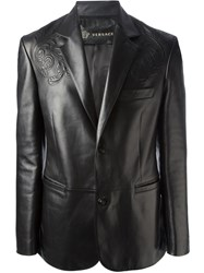 Versace Baroque Leather Jacket Black