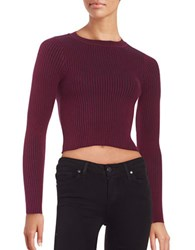 Design Lab Lord And Taylor Long Sleeved Crop Top Burgundy