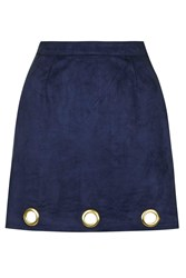 Suedette Mini Skirt By Rare Navy Blue