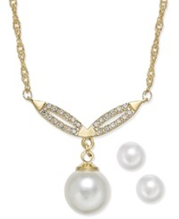 Charter Club Gold Tone Imitation Pearl Y Pendant Necklace And Earrings Set Only At Macy's