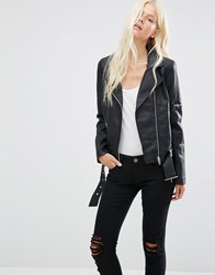 Minimum Bella Faux Leather Biker Jacket Black