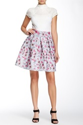 Gracia Floral And Checkered Skater Skirt Pink