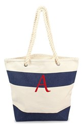 Cathy's Concepts Personalized Stripe Canvas Tote Blue Navy A