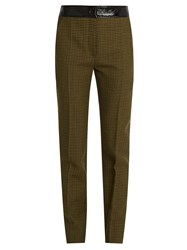 Courreges Hound's Tooth Slim Leg Wool Trousers Green Multi
