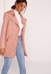 Missguided Bonded Faux Suede Biker Coat Pink Pink