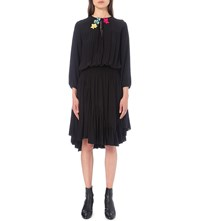 Preen Line Sofiw Floral Embroidered Crepe Dress Black