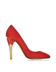 Oscar De La Renta Pia Ruby Red Suede W Lucite High Heel Pump