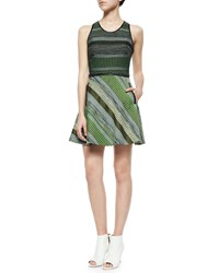 Andrew Marc New York Striped Tweed Racerback Dress Black Green