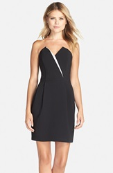 Adelyn Rae Strapless Crepe Sheath Dress Black White