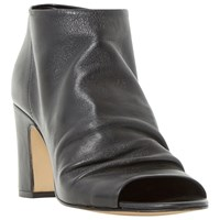 Dune Ivory Peep Toe Block Heeled Ankle Boot Black Leather